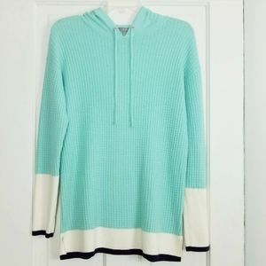 Talbots Lambswool Blend Waffle Knit Hooded Sweater